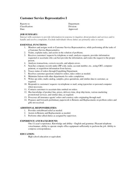customer service duties for resume customer service description for resume student