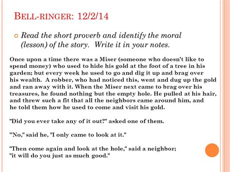 identifying themes in short stories bell ringer 12 1 14 read the short story and identify the