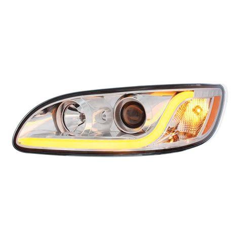 Led Light Bar Headlight Peterbilt 386 387 Projection Headlight With Led Bar 75 Chrome Shop