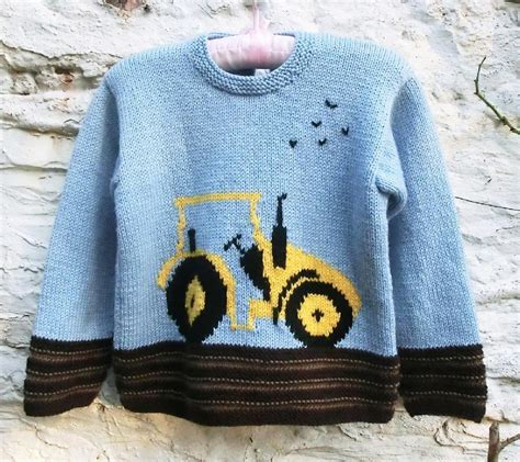 knitting pattern tractor jumper childs sweater with tractor motif knitting pattern by ruth