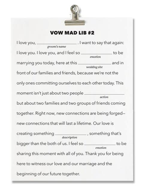 vow writing template brides fill in the blank wedding vows write your own