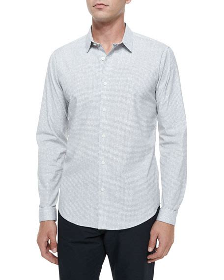 grid pattern shirt theory grid pattern long sleeve woven shirt neiman marcus