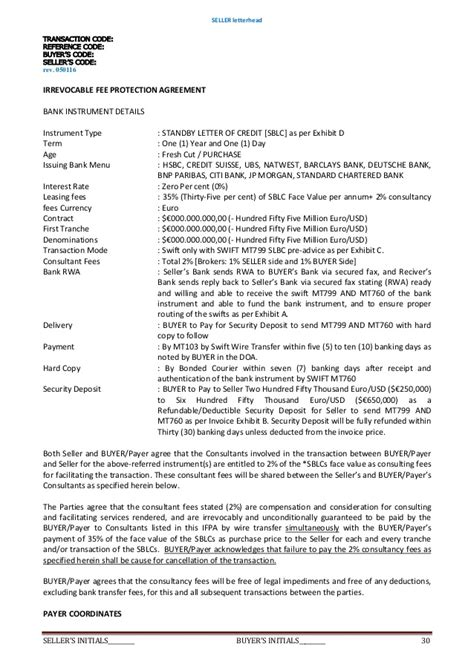 Ubs Bank Letter Of Credit Deed Of Agreement Purchase Sblc 35 2 Rwa Security D Eposit