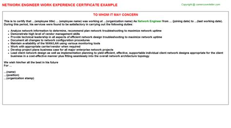 Work Experience Certificate Network Engineer Network Engineer Work Experience Certificate