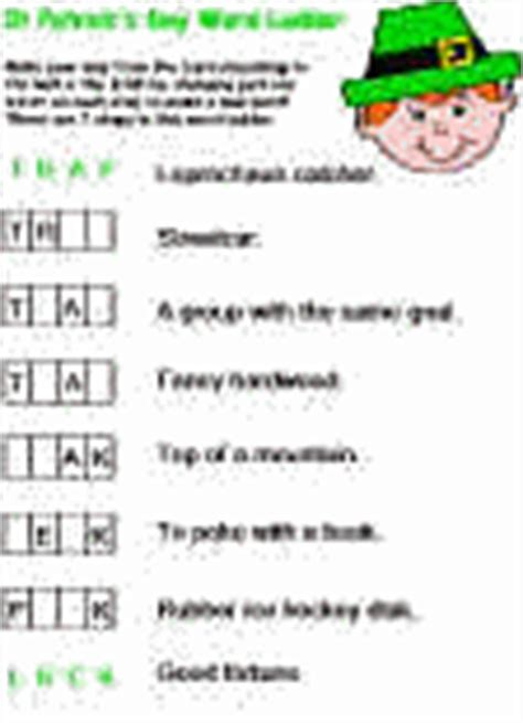 printable word ladder games st patrick s day printable worksheets