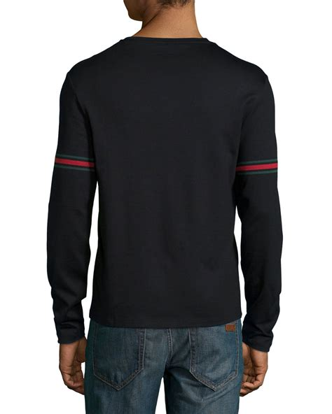 Details T Shirts lyst gucci sleeved t shirt with arm band details in