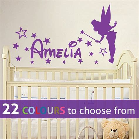 disney bedroom wall stickers personalised custom girls name pixie tinkerbell disney