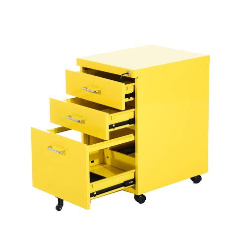 Yellow Filing Cabinet Uk Homcom 3 Drawers Metal Filing Cabinet Lockable W Wheels Yellow Aosom Co Uk