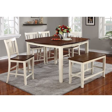 white counter height table set dover white cherry 6 counter height dining set