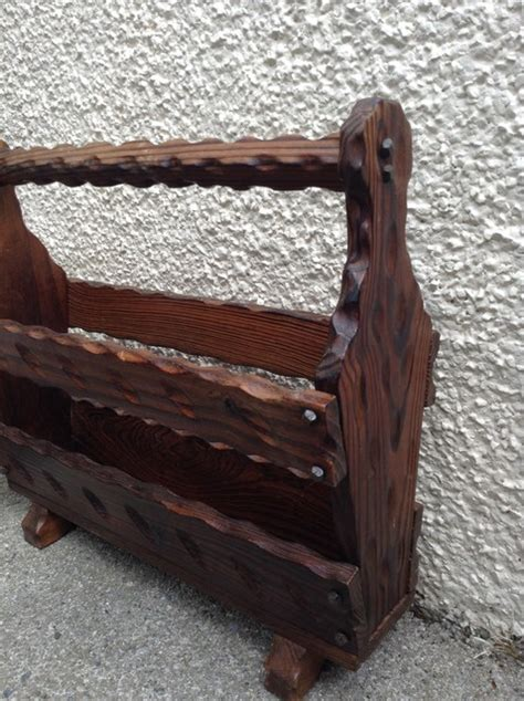 country cottage solid oak rustic magazine rack