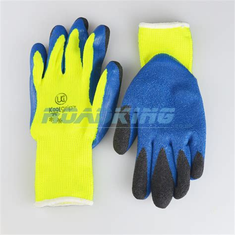fleece lined rubber work gloves koolgrip hi viz knit heat cold protection gloves