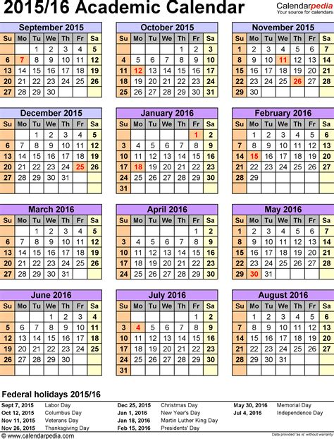 printable academic planner 2015 academic calendars 2015 2016 as free printable excel templates