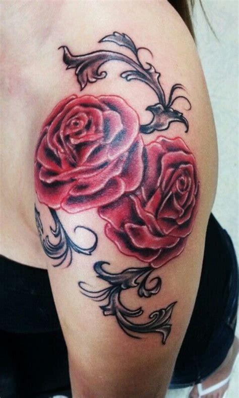 tattoo new girl 2nd tattoo rose shoulder cap with filigree tattoos