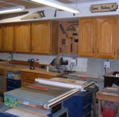 kitchen cabinets in garage my woodshop storage ideas recycling kitchen cabinets into