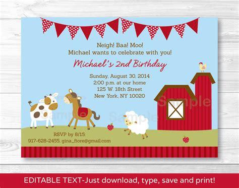 birthday card invitation editable template for at farm animals barn friends printable birthday invitation