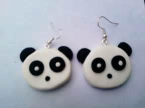 boucle d oreille tete de panda en pate fimo boucles d