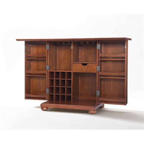 crosley cambridge sliding top bar cabinet crosley newport expandable bar cabinet in classic cherry