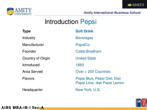 introduction of pepsi slideshare comparative analysis coca cola vs pepsi