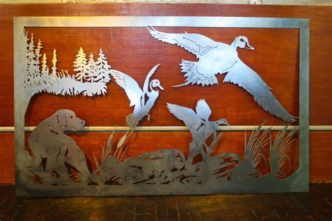 hunting decorations for home 45 quot detailed dog hunting scene ducks metal wall art home