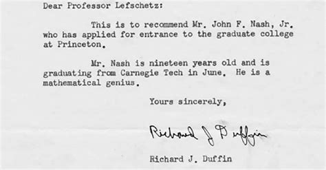 Reference Letter Nash Nash S Recommendation Letter For Princeton May Be The