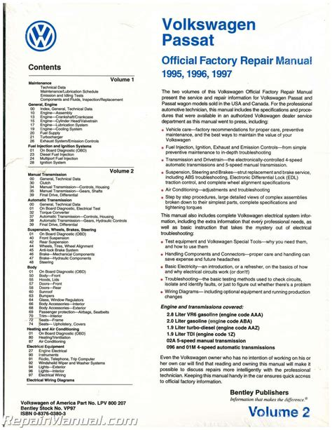 volume 2 only volkswagen passat b4 repair manual 1995 1996 1997 gasoline turbo diesel tdi 4