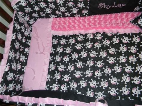 skulls minky dot pink black crib bedding 7p blanket