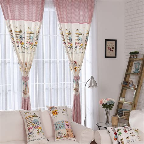 striped kids curtains cotton linen striped and cartoon patterns cute kids curtains