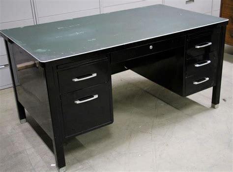 steel tanker desk for sale vintage steel black tanker desk velvoleum top all