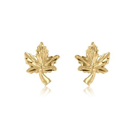 Leaf Stud Earrings 10k yellow gold maple leaf stud earrings