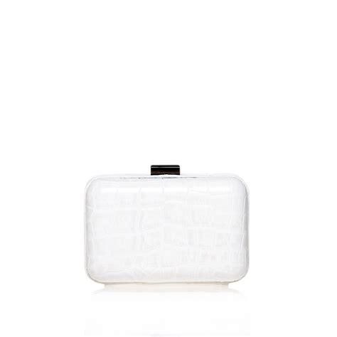 White Clutch kurt geiger box clutch in white lyst