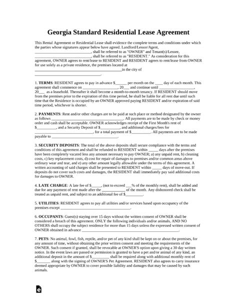 standard lease agreements free standard residential lease agreement template