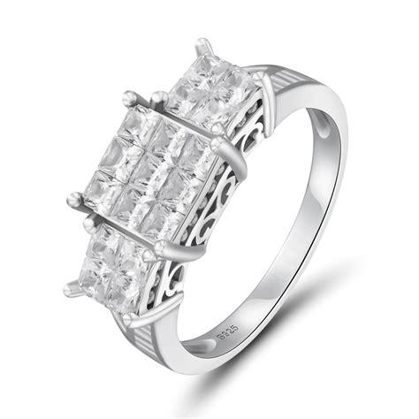 925 sterling silver princess cut white sapphire s