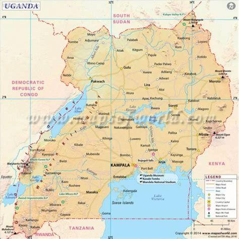 where is uganda on the world map uganda map travelquaz