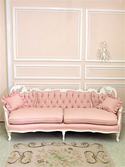 pretty tufted pink sofa vintage shabby chic white