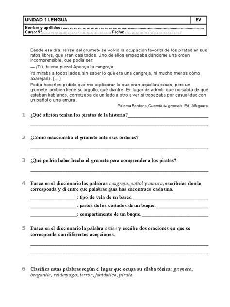 lengua 5 primaria lengua evaluacion 1 5 primaria