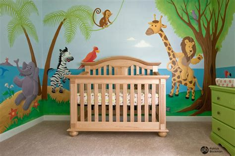 nursery mural noah s ark jungle animals eclectic - Jungle Baby Room Ideen