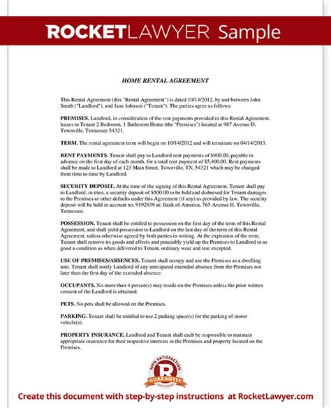 Tenant Rental Agreement Template Home Rental Agreement House Lease Contract Form Template Lifetime Lease Agreement Template