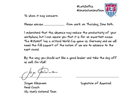 Excuse Letter For Special Quiz U S Soccer Coach Wrote An Excuse Note For You To Miss Work Today