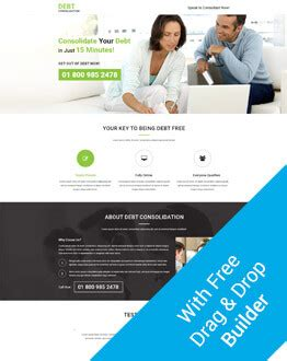 debt consolidation ppc landing page design template for