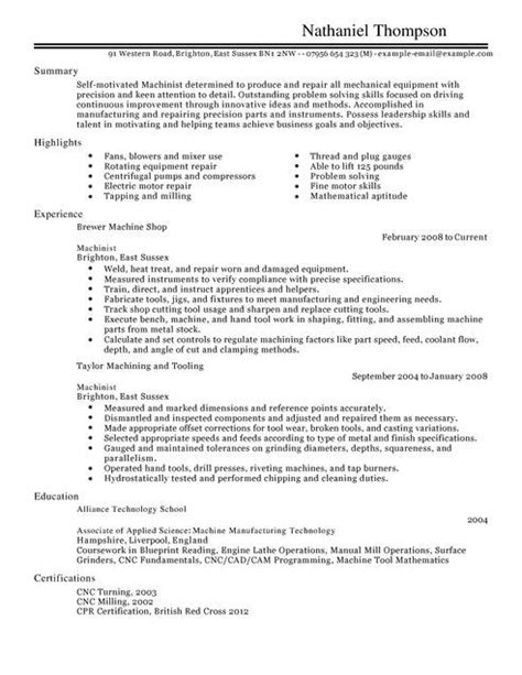 Machinist Resume by Machinist Resume Exle Exles Of Resumes