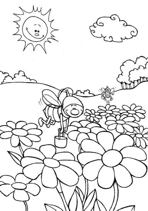 coloring pages field of flowers bumblebee activities on the flowers field coloring page