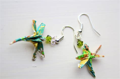 Dragonfly Origami - dragonfly origami earrings