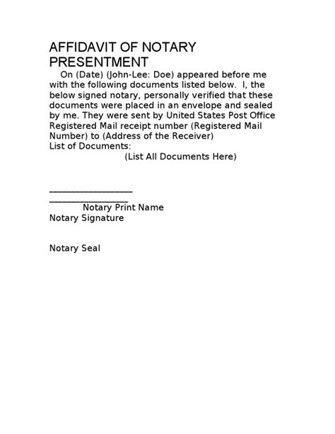 notary presentment template affidavit of notary presentment template 10 03 08