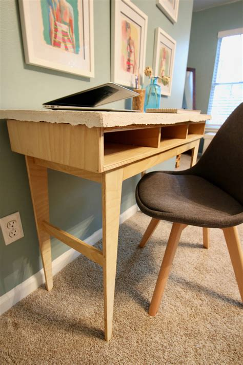 diy plywood concrete desk
