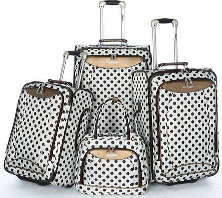 Set My Trip Polkadot womens olympia spearmint polka dot 4 luggage set free shipping exchanges