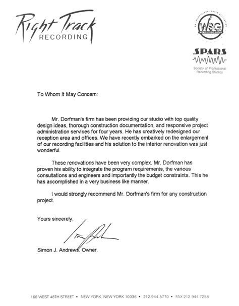Recommendation Letter From Employer Architect Hal Dorfman Architect Recommendation Letter