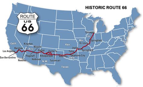map of route 66 usa get your kicks on bicycle route 66