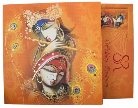 wedding card hindu hindu wedding card with modern radha krishna design in orange