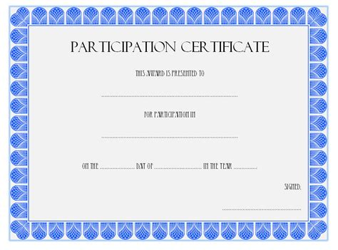 free templates for certificates of participation participation certificate template the best template