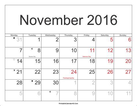 calendar of month of november calendar template 2016 november 2016 calendar printable with holidays pdf and jpg